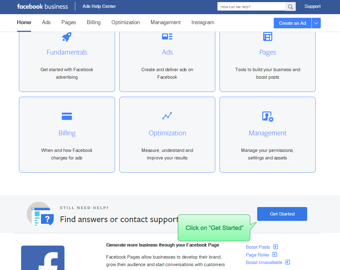 Facebook Business manager help center - topic selection screen