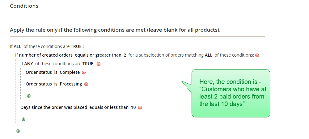 The admin view of the rule condition 'Customers who have at least 2 paid orders from the last 10 days'