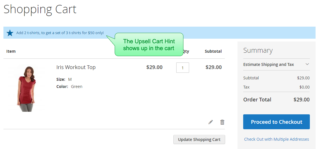 The Upsell Cart Hint shows up in the cart, saying 'Add 2 t-shirts to cart and get a set of 3 t-shirts for $50 only'