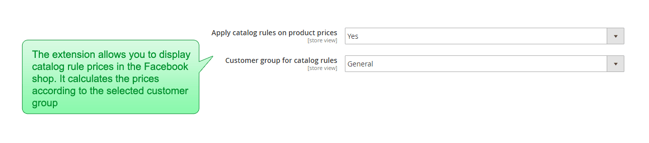 The admin configuration shows the ability to set whether the catalog prices will be applied and what customer group to use to calculate them