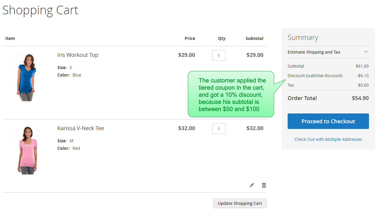 The subtotal tiered coupon is applied in the cart