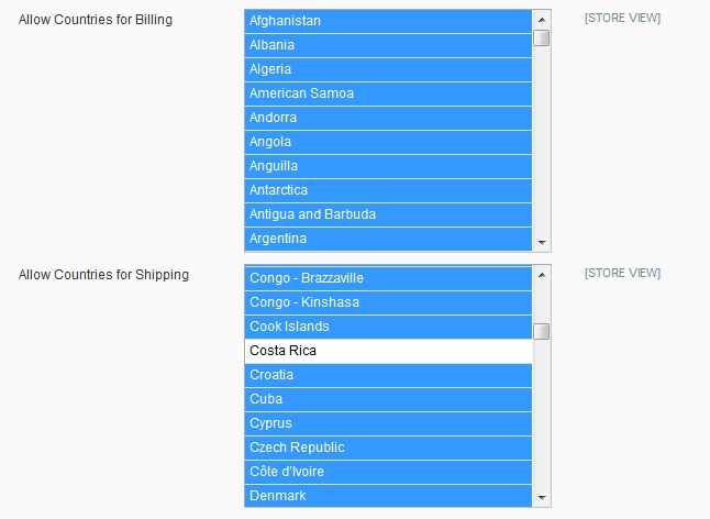 screenshot shipping and billing address countries configuration on backend